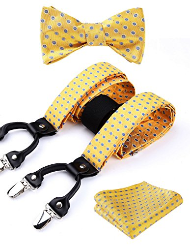 Enmain Suspender & Self-tie Bow Tie and Pocket Square Set Various Classic 6 Clips Adjustable Braces