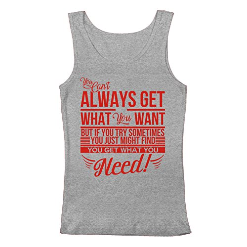 GEEK TEEZ Rolling Stones Inspired Can't Always Get What You Want Women's Tank Top Heather Grey Large