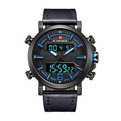 Men Dual Display Watches Analog Digital Casual Sport Luxury Chronograph Waterproof Wristwatch (Black Blue) ...