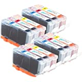 GB c-526cmy-set-4(4x Cyan, Magenta, Yellow Ink Cartridges Compatible with Canon Pixma Tricolor (Pack of 12)