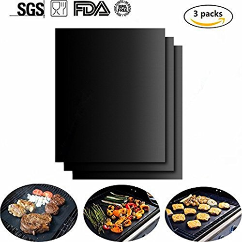 Azorcol Grill Mat Set of 3- 100% Non-stick BBQ Grill & Baking Mats - FDA-Approved, PFOA Free, Reusable and Easy to Clean - Works on Gas, Charcoal, Electric Grill and More - 16 x 13 Inch