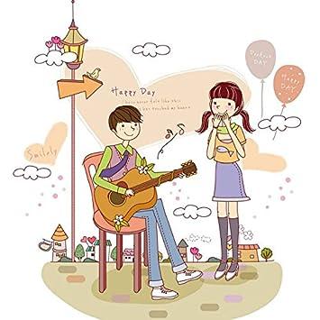 Mznm Diy Chica De La Decoración Del Hogar Que Escucha Chico Tocando La Guitarra Pareja De Dibujos Animados Pegatinas De Pared Dormitorio Tatuajes ...