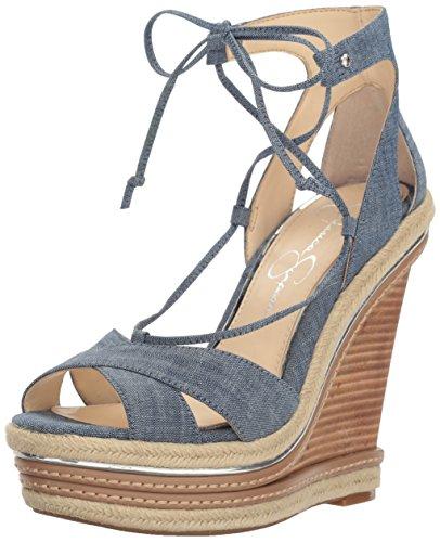 Jessica Simpson Women's Adyson Wedge Sandal, Chambray Blue, 8 Medium US JS-ADYSON