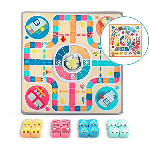 TOP BRIGHT Wooden Board Games for Kids, 2in1 Flying Chess Family Game, Toddler Traffic Theme Educational Toys for 3 4 5 Year Old Boys and Girls Gifts (Star Wars Games For 3 Year Old)