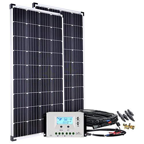Offgridtec Solaranlage basicPremium 50W bis 600W mit LCD Laderegler und Profi Kabelkit