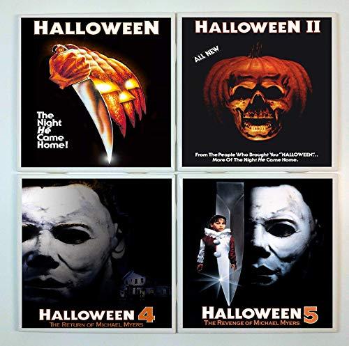 Halloween Coasters - set of 4 tile coasters - movie posters, Michael -