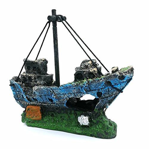 (LIAMTU Aquarium Fish Tank Decoration Boat Resin Plastic Plant Decor Perfect for 10 Gallon Miniature Tank)