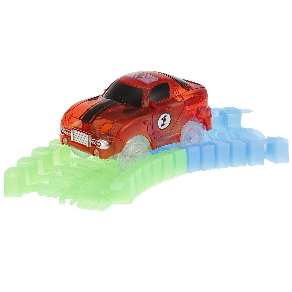 Goolsky Glitter Track Race Car para 45 mm Neon Glow in Darkness para niños