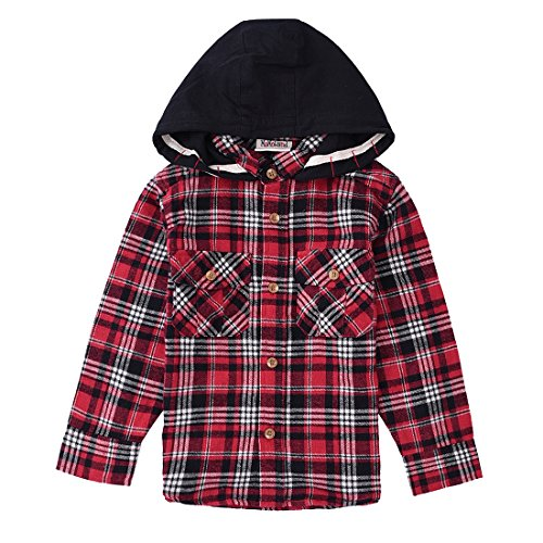 Boys Long Sleeve Flannel Shirts with Hoods (2-3Y, RED) (3 Button Flannel)