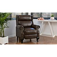 Great Deal Furniture 296600 Curtis Dark Brown Leather Recliner Club Chair