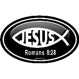 "ProSticker 2207 (One) 7.6cm X 12.7cm Euro Oval Series ""Jesus Romans 8:28"" Decal Sticker"
