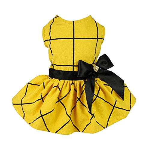 Fitwarm Vintage Ribbon Dog Dress Pet Clothes Vest Shirts Yellow Small