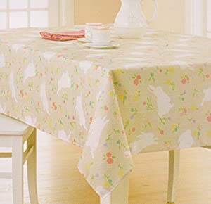 Easter Bunny Spring Flowers Print Fabric Tablecloth (60 X 102  Rectangle/Oblong)