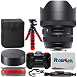 Sigma 12-24mm f/4 DG HSM Art Lens for Nikon F + Vivitar Memory Card Hard Case + 12-Inch Flexible Tripod + Lens Band, Stop Zoom Creep + Lens Cleaning Pen + Photo4Less Cleaning Cloth + Lens Cap Holder
