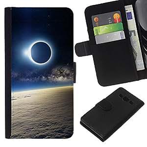 KingStore / Leather Etui en cuir / Samsung Galaxy A3 / Spazio Planet Galaxy Stelle 51