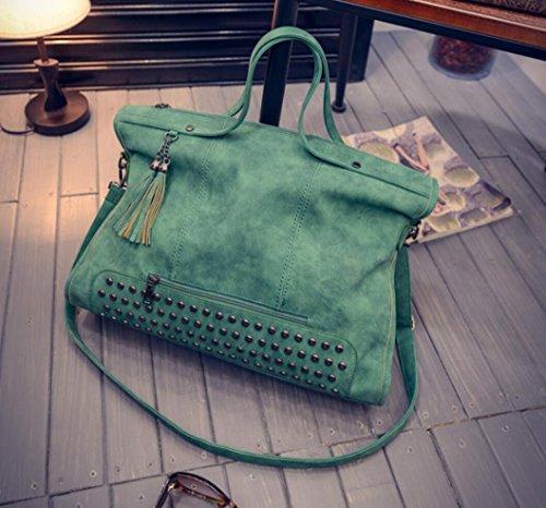 Motorcycle A Cross Green Rivet Top Satchel Handle Handbag Tassels Women Pu Leather Body Bag Studded Punk Hobo 4Bdx4H