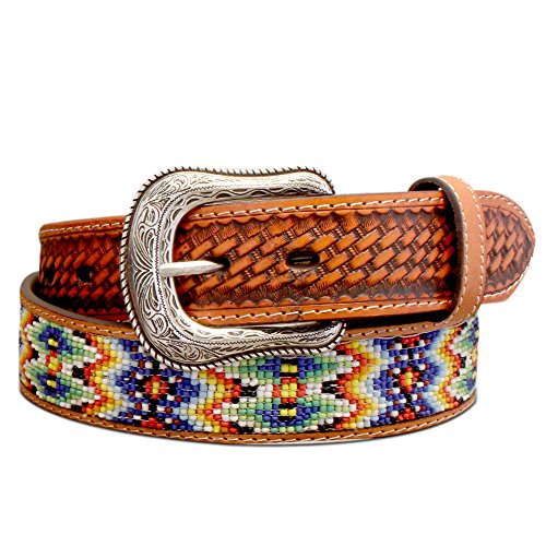 Men's Beaded Leather Basket Weave Belt, (Aztec Mens Roper)