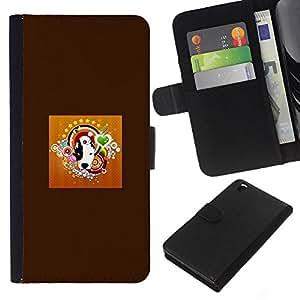 EJOY---La carpeta del tirón la caja de cuero de alta calidad de la PU Caso protector / HTC DESIRE 816 / --Pit Bull Terrier Bulldog Perro Blanco Negro