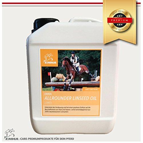 EMMA Aceite de Linaza Lino Caballos suplemento alimenticio Aceite de linaza para caballos - para pieles brillantes y buena digestión y cambio de pelaje, el aceite de linaza es prensado en frío a partir de 100% de linaza natural, el aceite de linaza es rico