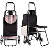 Stair Climbing Rolling Shopping Multipurpose Laundry Utility Cart with Seat