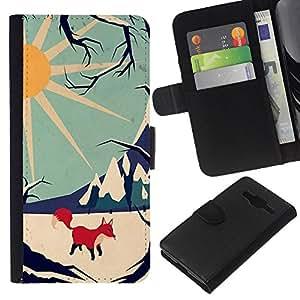 KLONGSHOP // Tirón de la caja Cartera de cuero con ranuras para tarjetas - Montañas de invierno con estilo Sun Fox - Samsung Galaxy Core Prime //