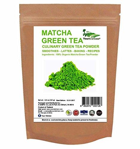 Yours Kitchen - Matcha Green Tea Powder - All Day Energy Booster Incredible Taste - Green Tea Lattes - Smoothies - Baking (5 oz)
