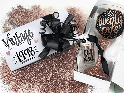 Hand Painted Wine Glass Shot Gift Box Set - 21 Rose Gold Black Confetti Glitter Personalized Vintage 1998 - twenty one]()