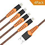 Aoshitai Charging Cable 4 Pack [ 3Ft 6Ft Nylon Braided for iPhone X/8/8Plus/7/7Plus/6/6Plus/6S/6Splus Ipad iPod and More - Orange