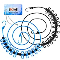iTOWE Travel Elastic Clothesline Camping Clothes Lines Adjustable Clothes Rope with 12pcs