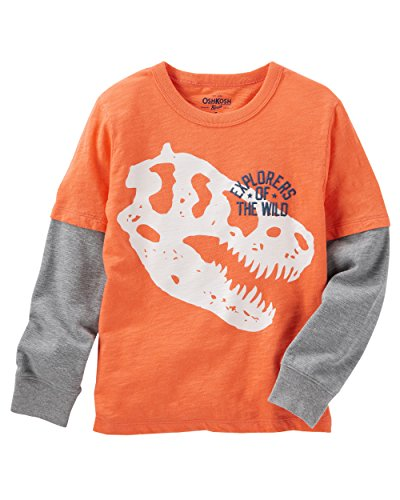 Osh Kosh Boys' Kids Long Sleeve Graphic Tee, Orange Dino, 5