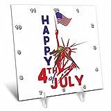 3dRose Andrea Haase Patriotic Art - America Patriotic 4th July Statue Of Liberty Flag Art - 6x6 Desk Clock (dc_282605_1)
