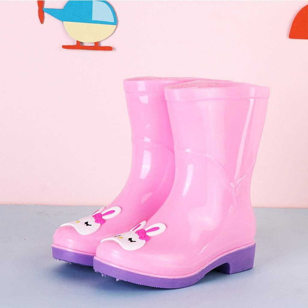 5-5.5 Years Old, Pink Baby Girls Boys Fashion Rain Boots Children Cute Cartoon Print Waterproof Rain Shoes Galoshes 1-10 Years Old