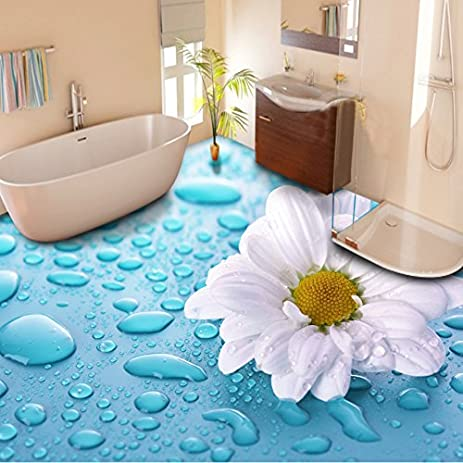 300cmX250cm Custom Floor Wallpaper 3D Stereoscopic Drops Flower Vinyl Tiles Waterproof For Bathroom