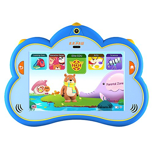 B.B.PAW 8'' Kids Tablet Pre-Loaded 100+ Apps Free Learning & Training Kid's Abilities, IP68 Waterproof and Water Resistant, Eyes Protection and Silicone Shell, English&Spanish Edition, Blue