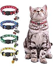 Breakaway Cat Collar with Bell, 4 Pack Fruit Style Safety Kitten Collar Adjustable Cat Collars for Kitten Kitty Cat