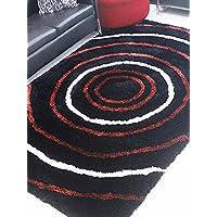 Rugsotic Carpets Hand Tufted Polyester 6x9 Shag Area Rug Geometric Black Multicolor K00005