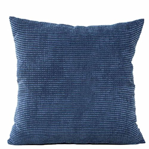 Bokeley Pillow Case, Corduroy Square Solid Corn Pattern Decorative Throw Pillow Case Bed Home Decor Cushion Cover (Blue)