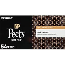 Peet's Coffee K-Cups, Medium Roast Cafe Domingo, 54 Count Pods Single Cup Coffee Pods, Smoothly Sweet, Balanced, Bright Medium Roast Blend of Latin American Coffees, with A Crisp, Clean Finish