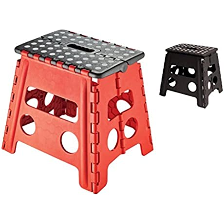 Easy Life Carry Folding Step Stool Seat With Anti Slip Surface 13 Inch For Kids Works Home Black