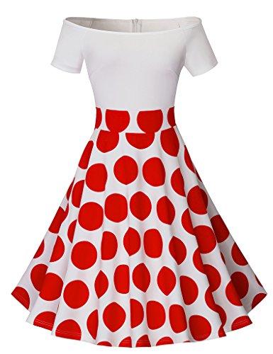 HOMEYEE Women's 1950's Vintage Off Shoulder Polka Dot Swing Dress A015 (12, Red) ()