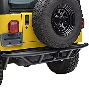 E-Autogrilles Black Rear Steel Tubular Bumper for Jeep Wrangler TJ YJ with Hitch Receiver