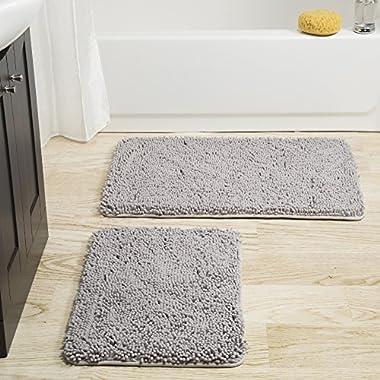 Bedford Home 2 Piece Memory Foam Shag Bath Mat -Grey