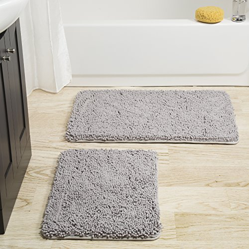 (Lavish Home 2 Piece Memory Foam Shag Bath Mat -Grey )