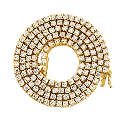 TRIPOD JEWELRY Iced Out Stainless Steel Hip Hop Gold Lab Diamond 1 Row CZ Tennis Chain 8-26 Inches (18K Gold Plated 4MM, ()