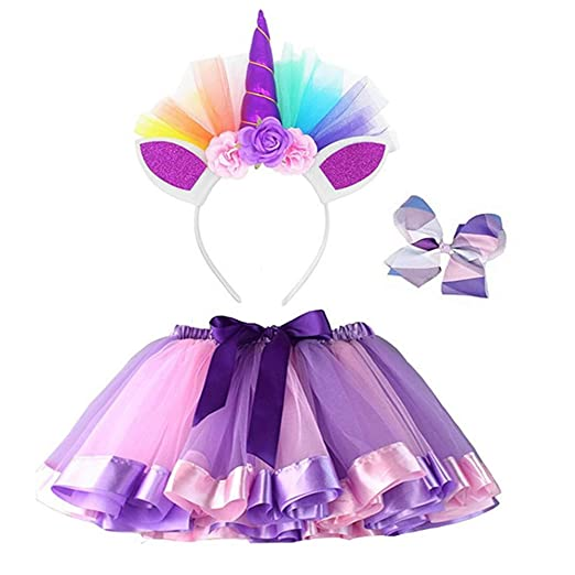 Layered Rainbow Tutu Skirts with Unicorn Horn Headband Outfits for Little Girls - Unicorn Costumes (Purple, L(4-8) Years)