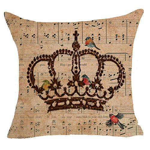 Crown King Queen Musical Note Sheet Music Bird Animal Retro Cotton Linen Decorative Throw Pillow Case Cushion Cover Square 18