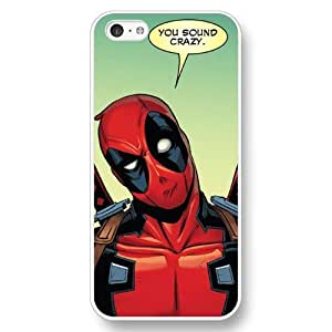 UniqueBox Customized Marvel Series Case for iPhone 5C, Marvel Comic Hero Deadpool iPhone 5c Case, Only Fit for Apple iPhone 5C (White Hard Case)