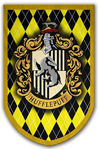 Harry Potter Style Banner - Hufflepuff Flag 37x24 in - Printed on Both Sides - Durable Enough for Outside Conditions - Perfect Barware Man Cave Gift - Unique HP Collectible Accessories
