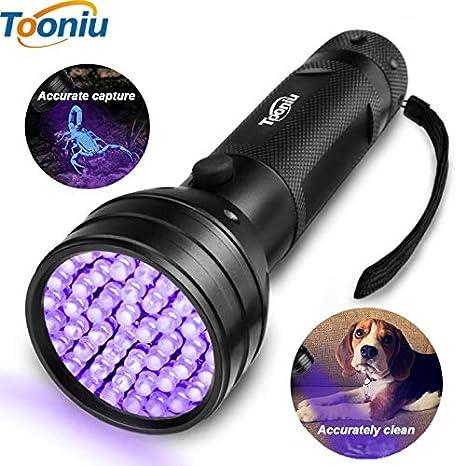 Linterna LED UV 51 LED 395 nm Ultra Violeta lámpara de luz detector de luz negra para perro orina mascotas manchas y chinches: Amazon.es: Iluminación