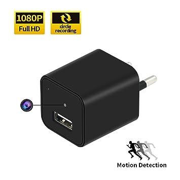 Cargador USB Cámara Oculta 32GB 1080P HD TANGMI Mini Cámara Espía Adaptador de Enchufe de Pared AC Nanny Cam de Seguridad Detección de Movimiento ...